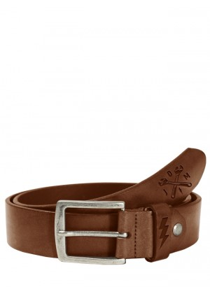 Lether Belt Cross Tool Dark Cognac
