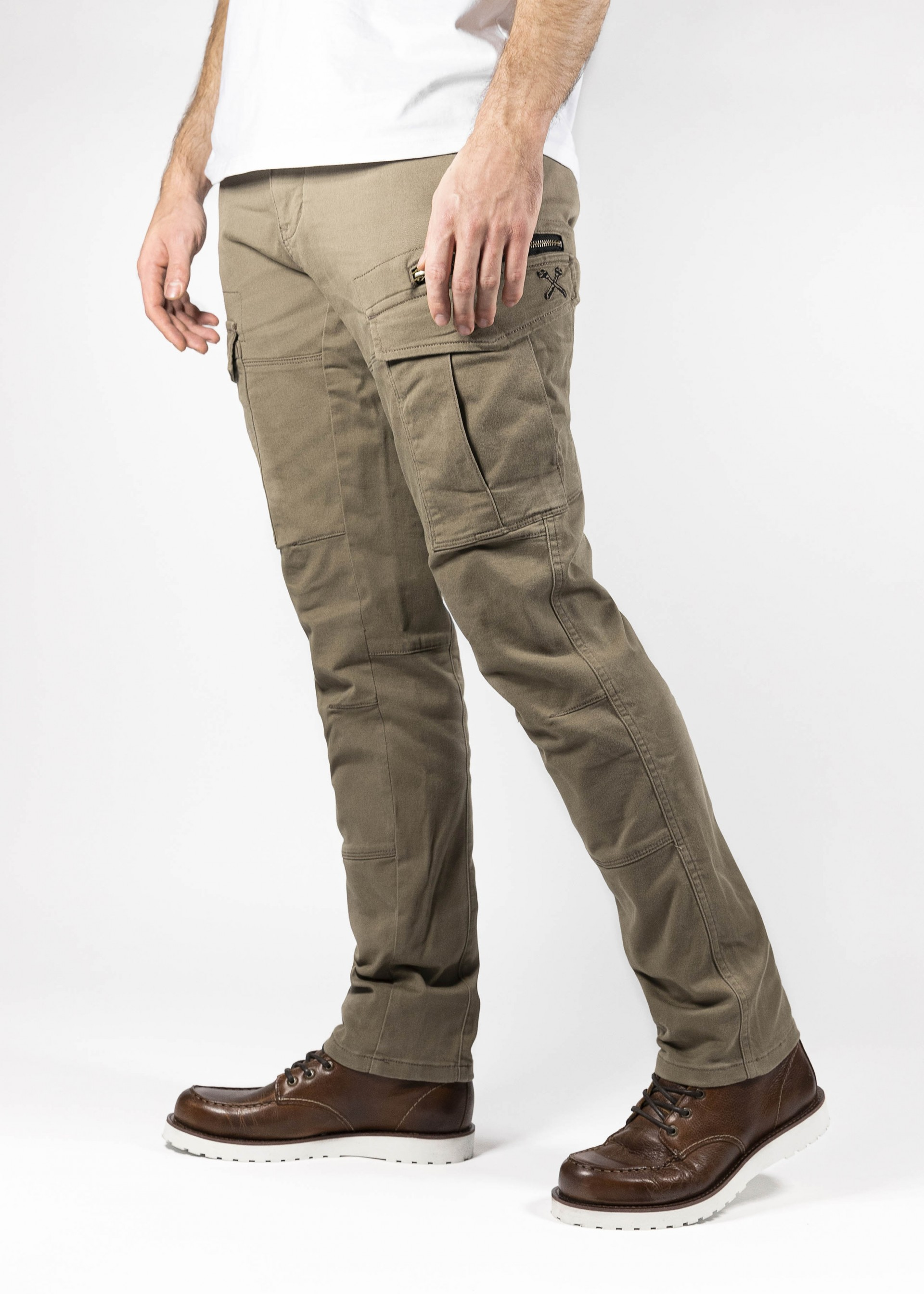 Khaki//TAN Force Riders Mens Motorcycle Cargo Trousers with Dupont/™ Kevlar/® Lining